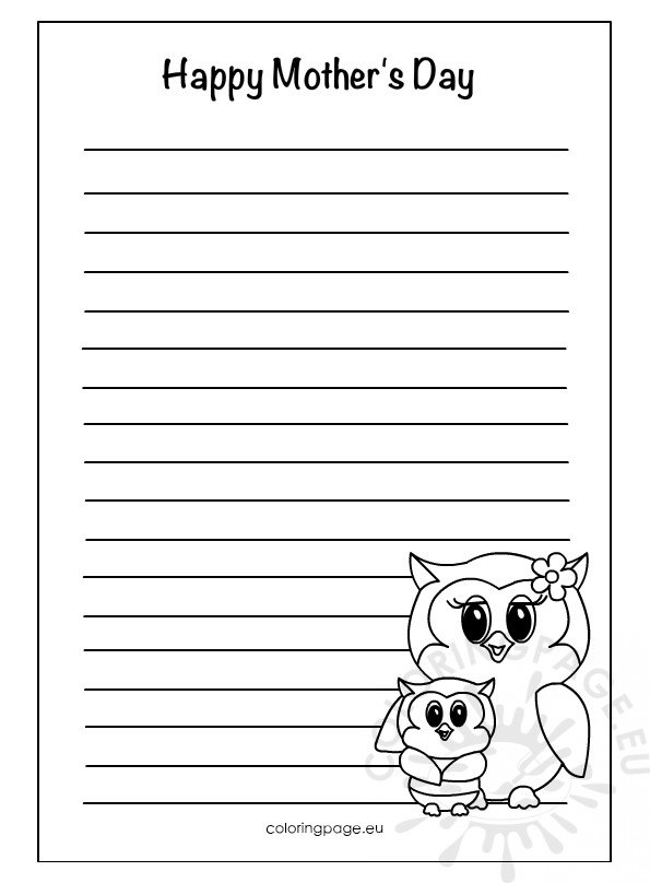 printable mother s day writing paper coloring page. Black Bedroom Furniture Sets. Home Design Ideas
