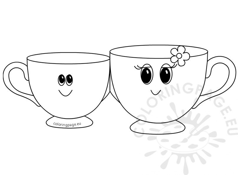 Printable Mothers Day Tea Cup Card Template Coloring Page