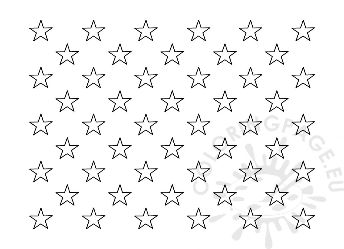 American Flag 50 Stars Template Outline - Coloring Page
