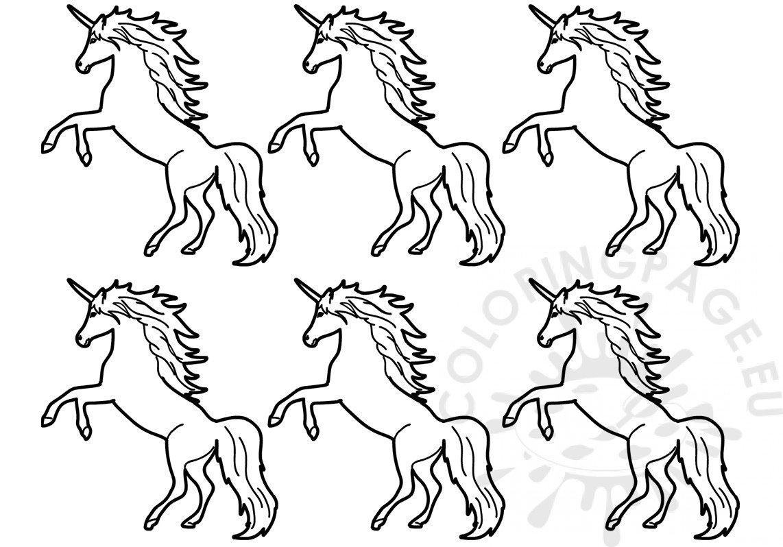 Vector Illustration Six Unicorns