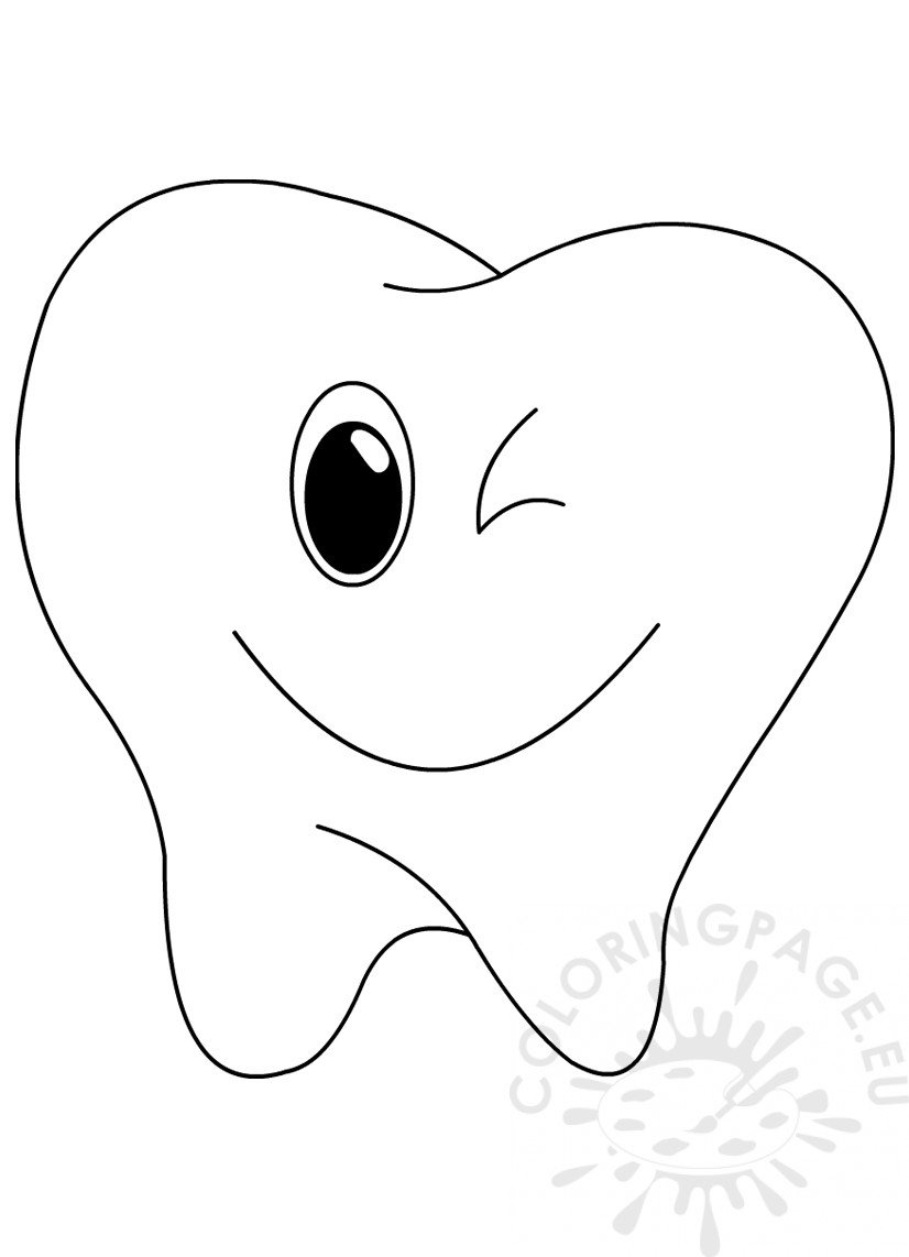 Happy Tooth Coloring Sheet – Coloring Page