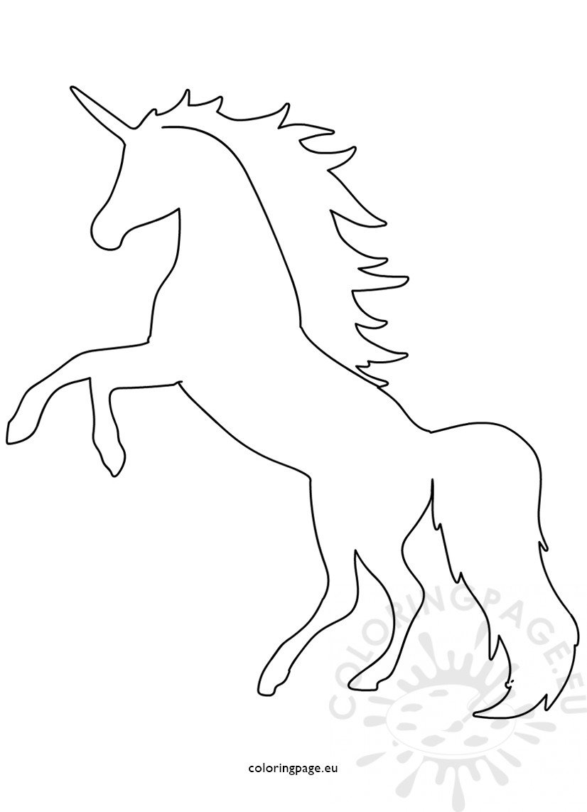 Printable Unicorn Shape Template Coloring Page