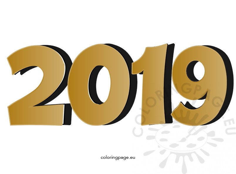 3d Gold Number 2019 Happy New Year Coloring Page