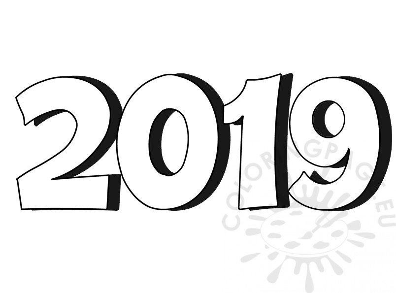3D Number 2019 coloring page – Coloring Page