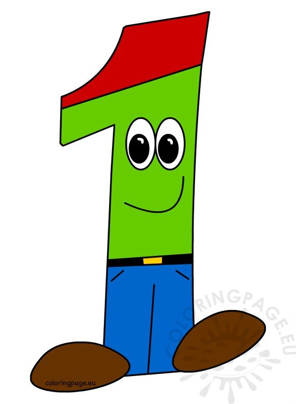 Cartoon Character Number One clipart