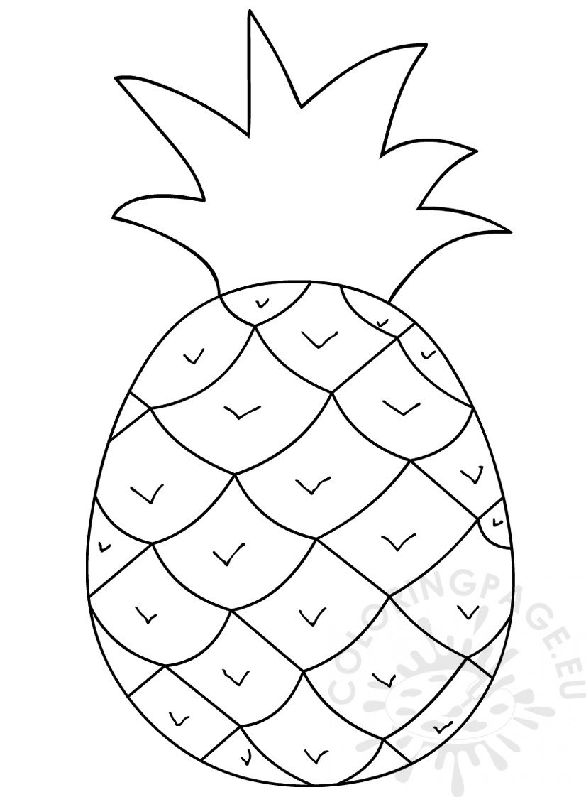 Pineapple clipart black and white – Coloring Page