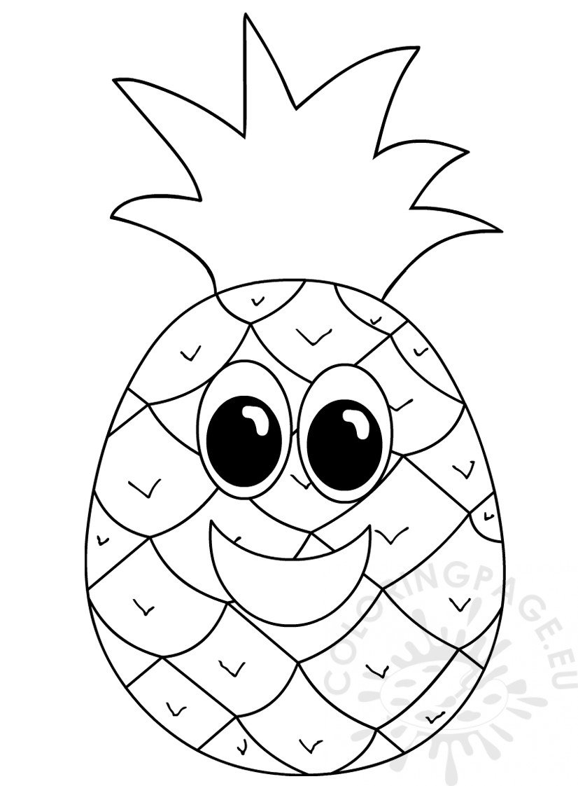 Pineapple with smiling face Coloring