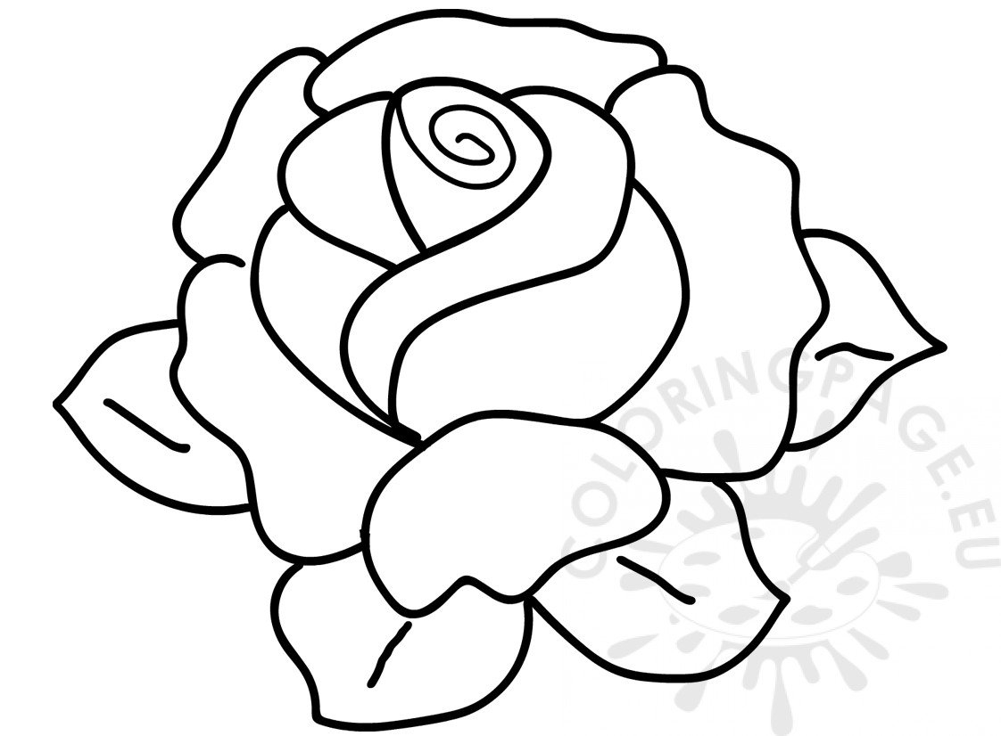 Flower coloring page Rose with leaves image | Coloring Page