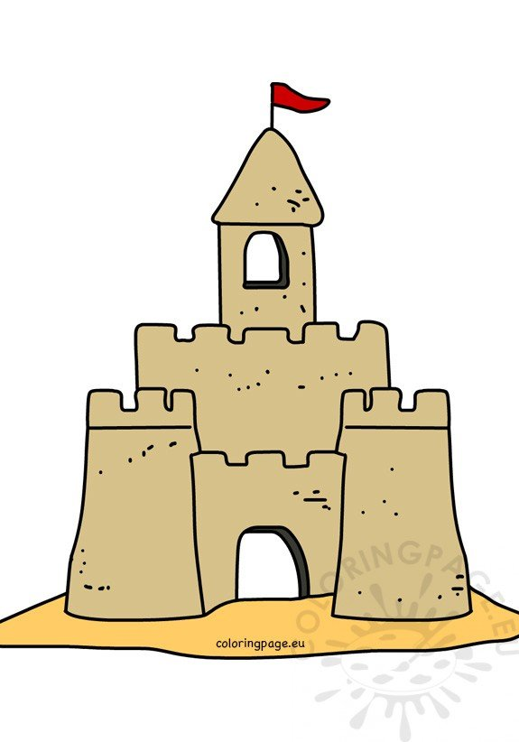 Sand castle cartoon vector illustration Coloring Page