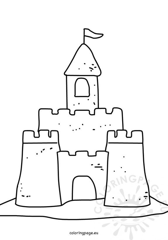 Summer coloring page Sand castle on the sand Coloring Page