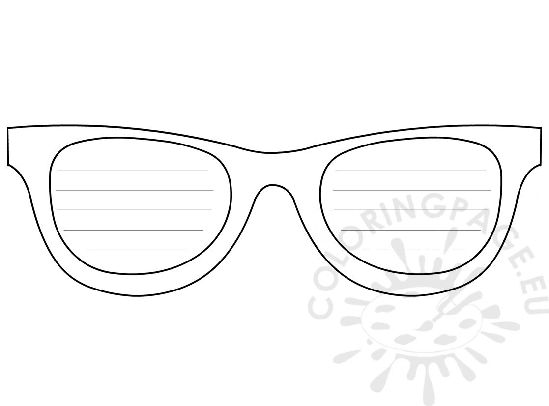 768b2470a213 Sunglasses Writing Template Printable Craft Sunglasses – Coloring Page