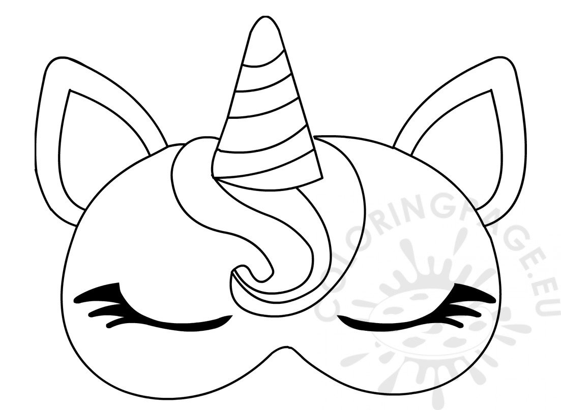 picture about Printable Unicorn Mask referred to as Unicorn slumber eye mask template Coloring Web page