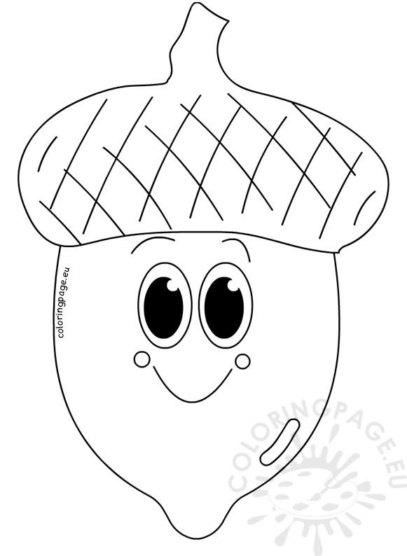 Cute smile acorn cartoon vector image - Coloring Page