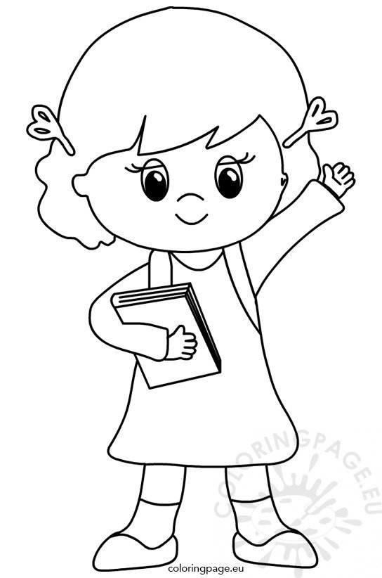 Little girl with backpack clipart