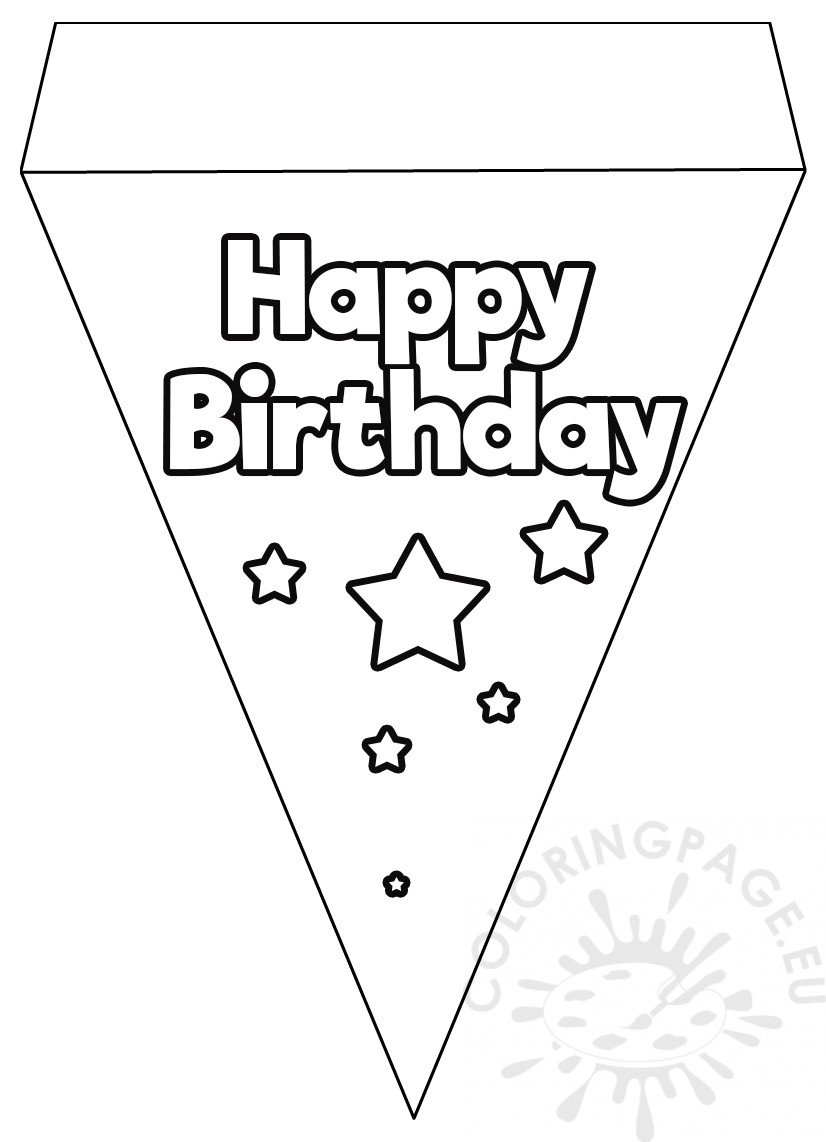 Happy Birthday Flag Banner template - Coloring Page