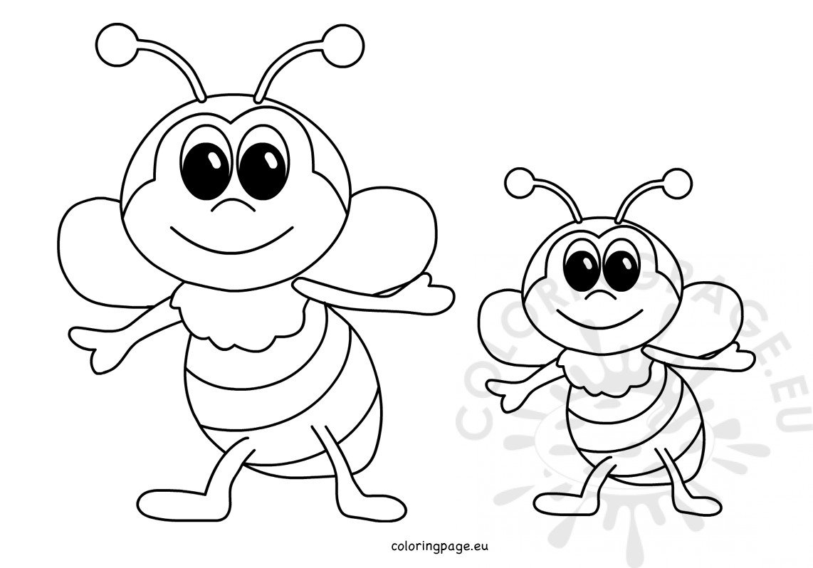 Printable Happy Honey Bees - Coloring Page