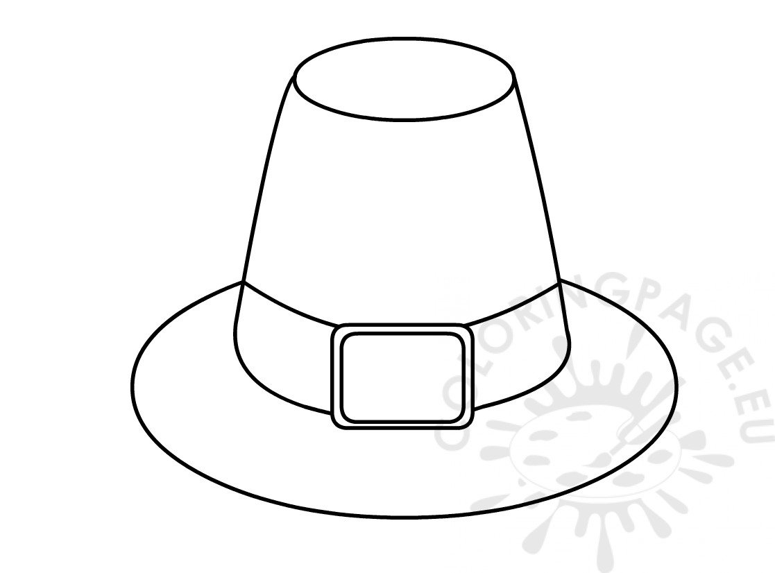 Thanksgiving Pilgrim Hat template - Coloring Page
