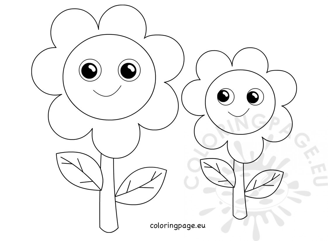 Two smiling cartoon flowers printable