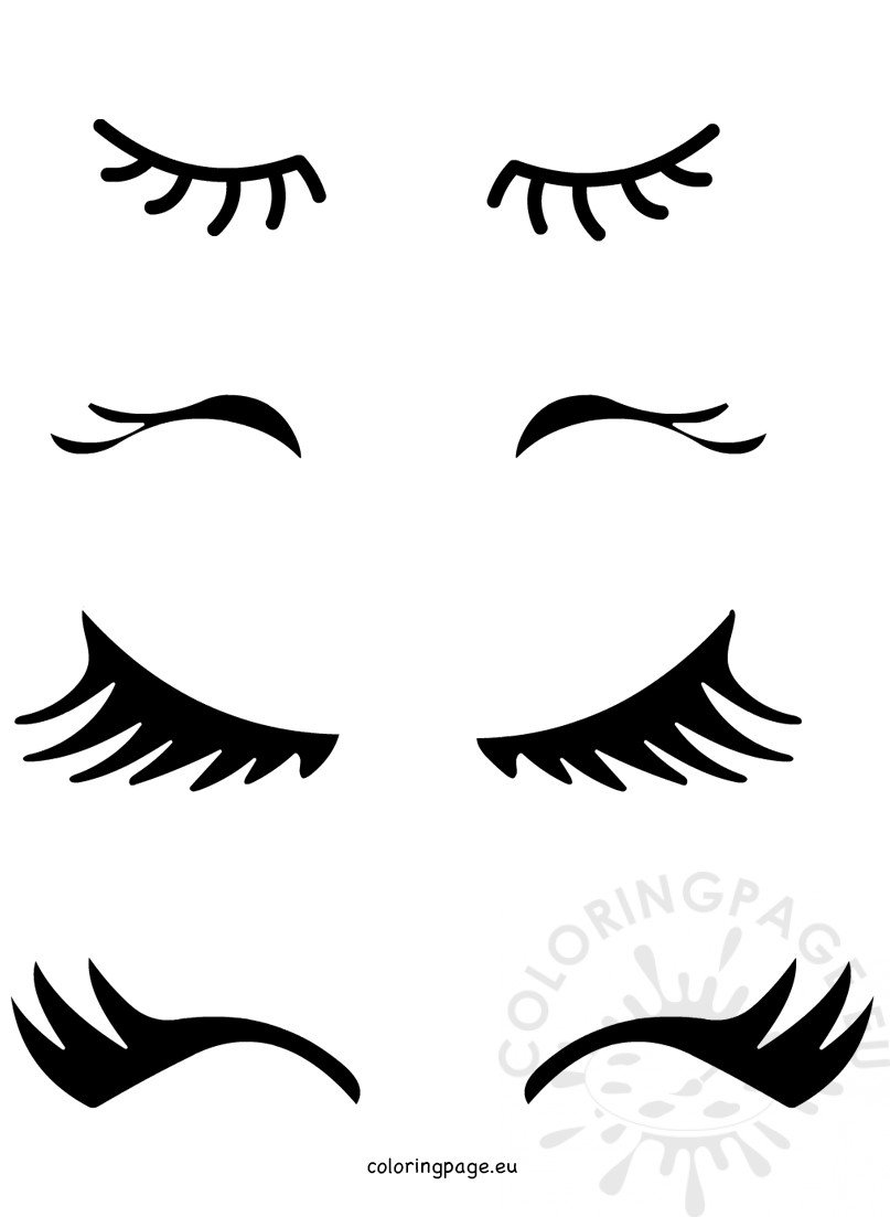 Vector Unicorn eyes template - Coloring Page