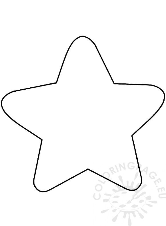 Large Christmas star template 5 point star - Coloring Page