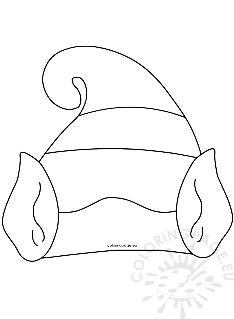 graphic relating to Elf Hat Printable identified as Hat with Elf Ears template printable Coloring Webpage