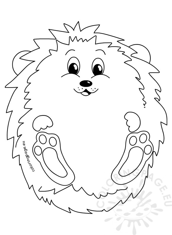 Cute Hedgehog Autumn Illustration - Coloring Page