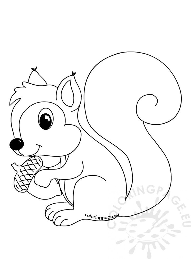 Forest Animals Coloring Page Squirrel With Acorn Coloring Page