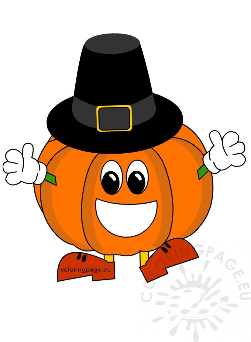 Thanksgiving Pumpkin with Pilgrim Hat | Coloring Page