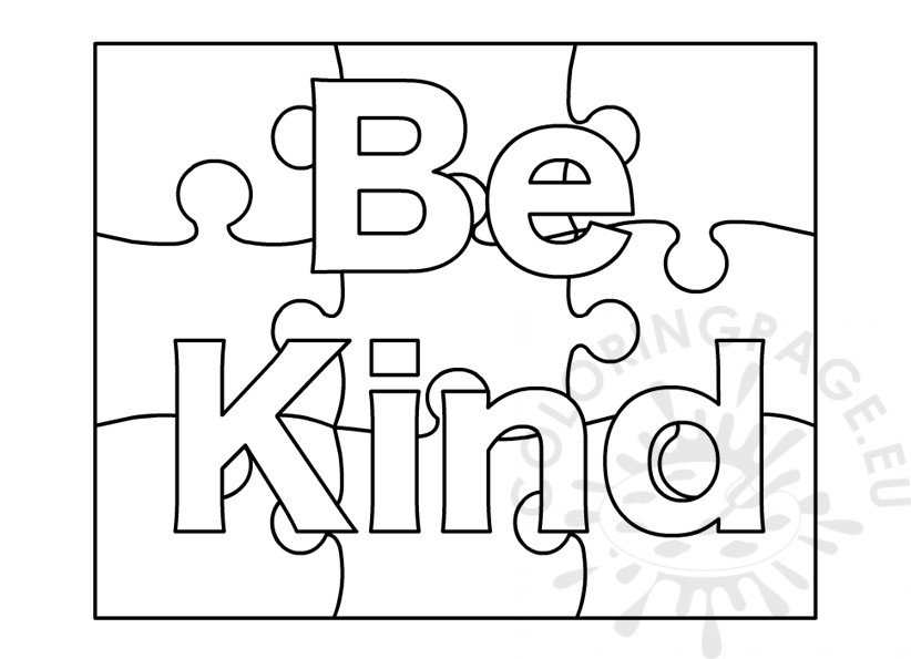 Be Kind word coloring page Coloring