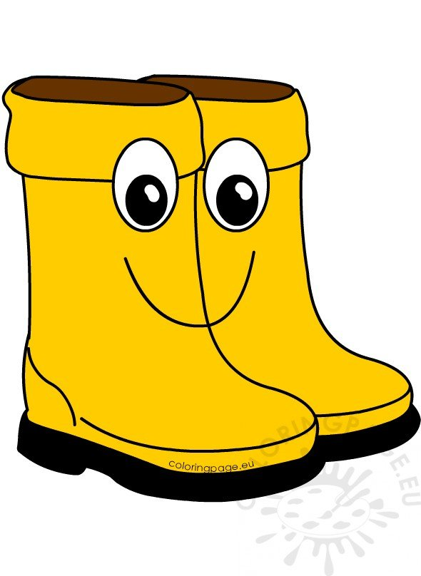 Yellow Rain Boots Cartoon Printable Coloring Page