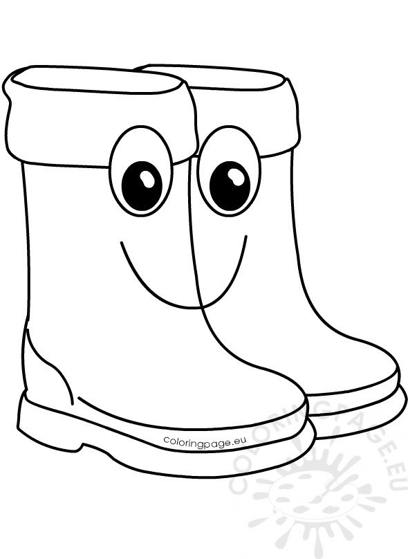 Clipart cute rain boots cartoon coloring page for Rain boots coloring page