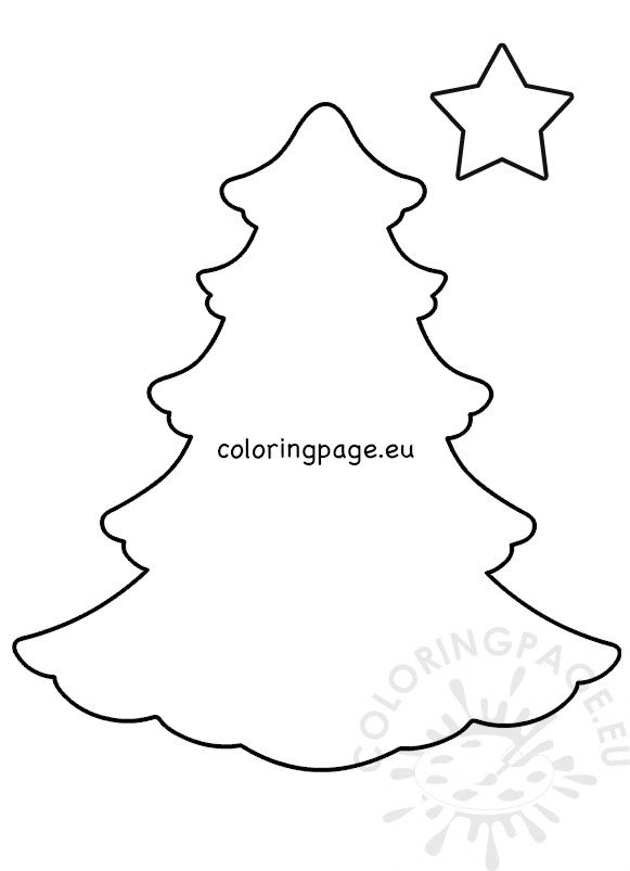 Large Christmas Tree Template Cut Out Coloring Page