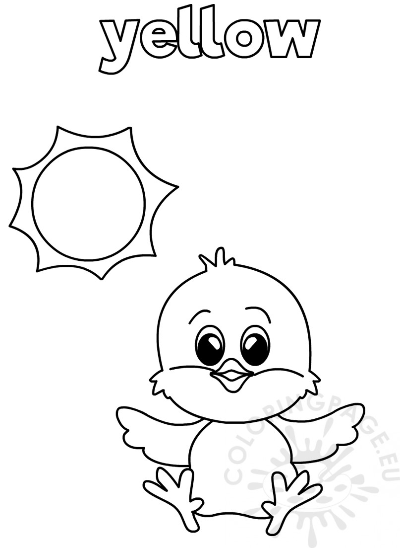 Yellow coloring worksheet for Kindergarten
