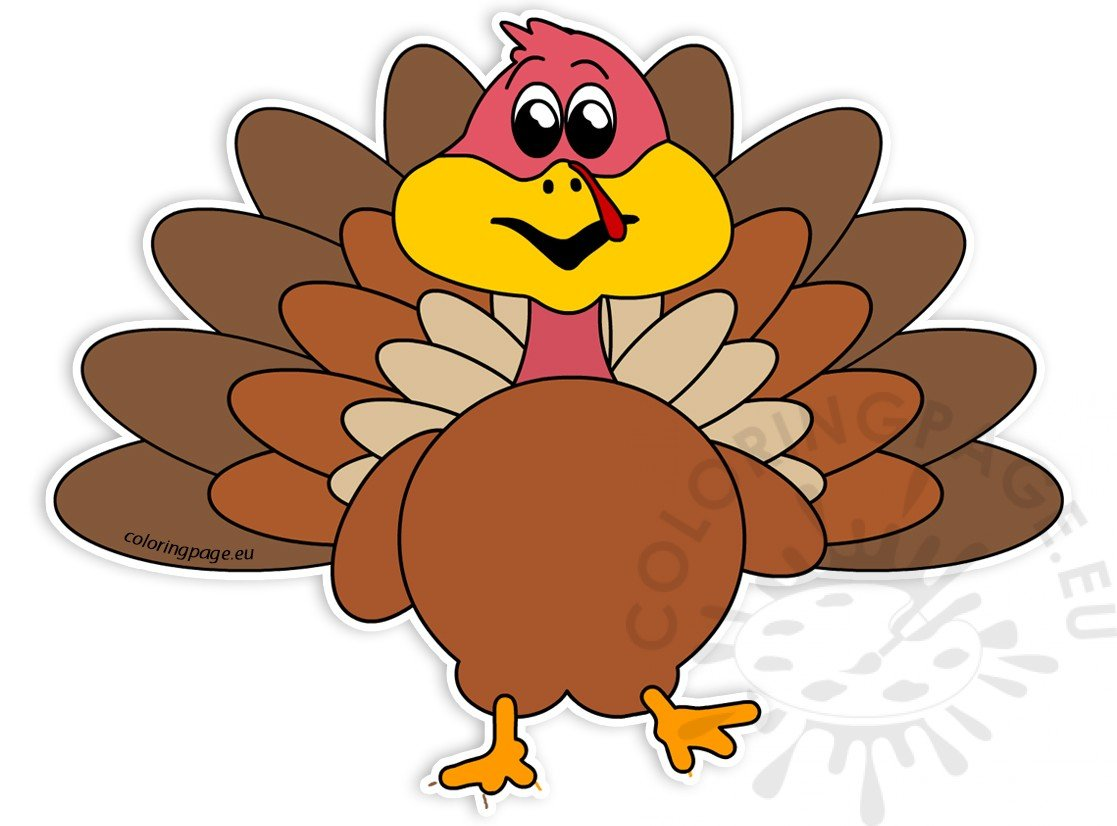 Smiling Turkey Bird Cartoon Character Image Coloring Page