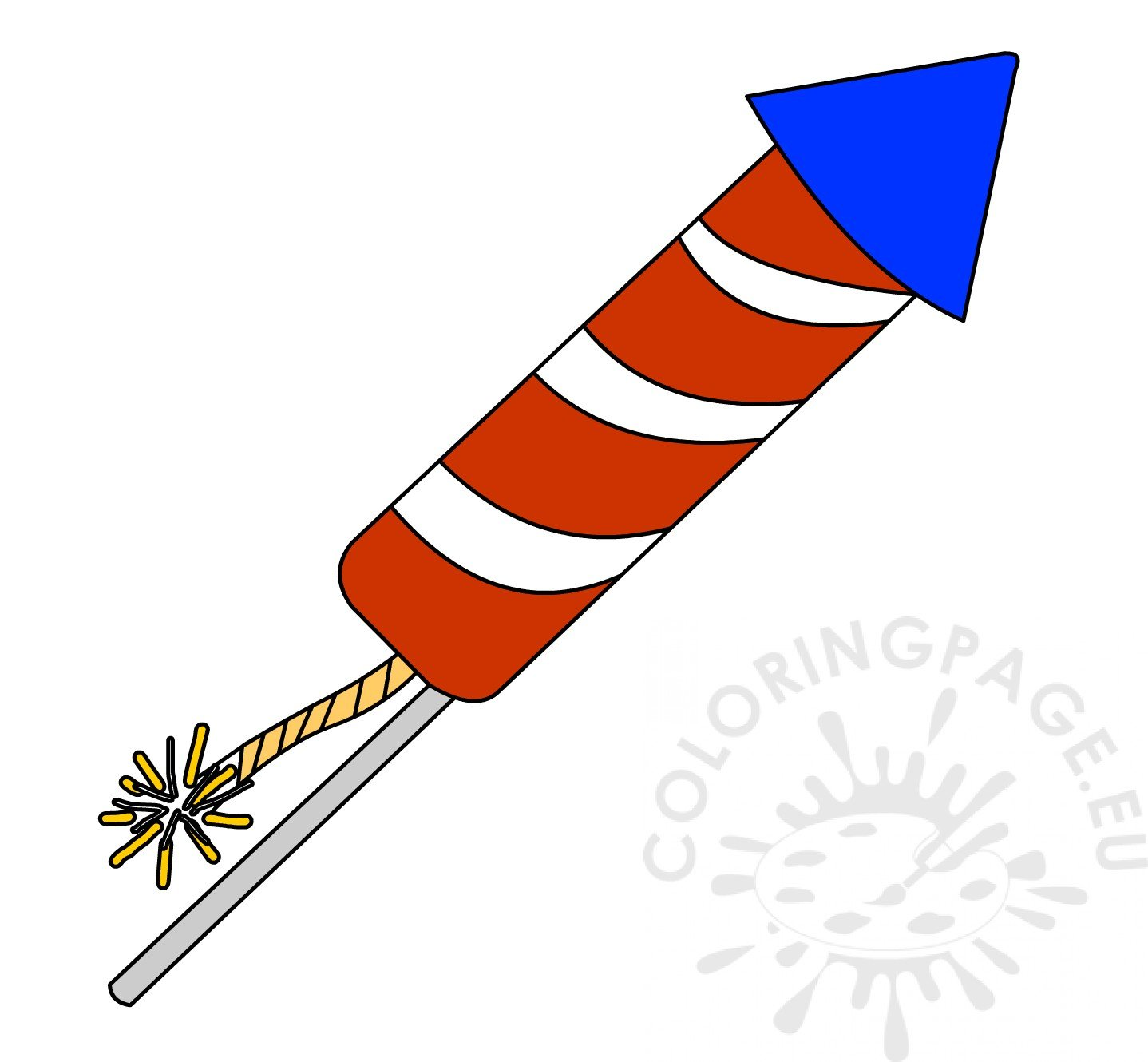 Red And White Striped Firework Rocket Clipart Coloring Page