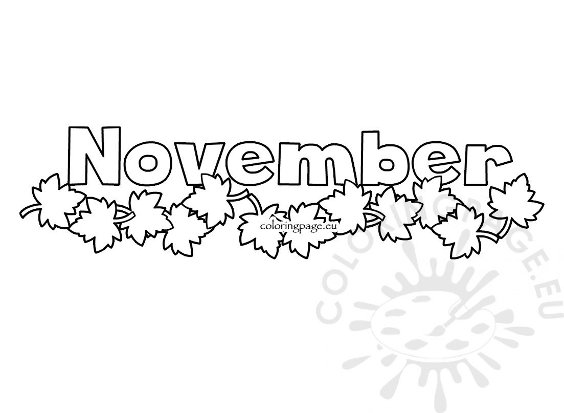 Autumn leaves month november illustration - Coloring Page