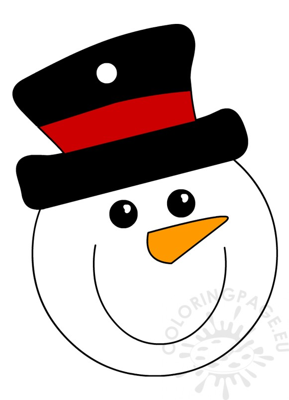 Snowman Head With Top Hat Ornament Christmas Coloring Page