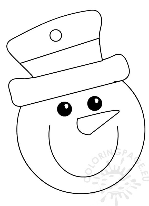 snowman head with top hat coloring