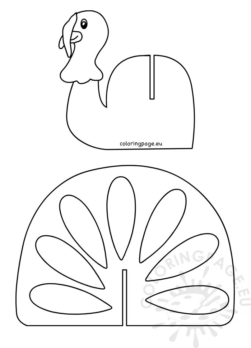 Thanksgiving Turkey Craft Template printable - Coloring Page