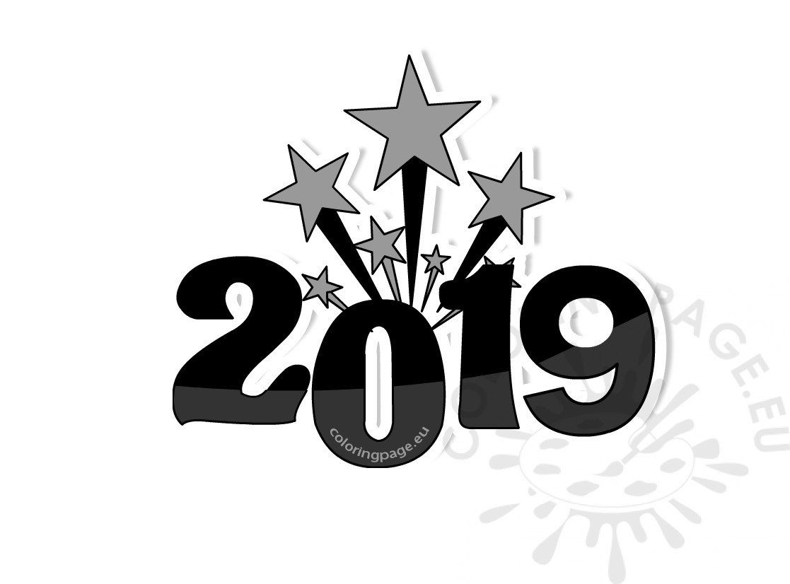 2019 happy new year fireworks printable Coloring Page
