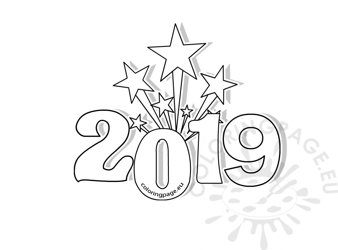 Printable New Years Coloring Page 2019 Coloring Page