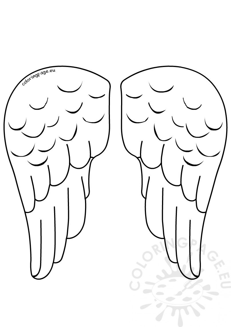 Paper Angel Wings Template Vector Coloring Page