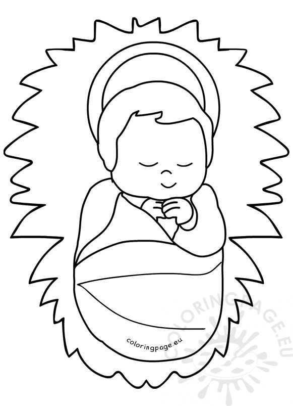 Baby Jesus in a manger image printable - Coloring Page