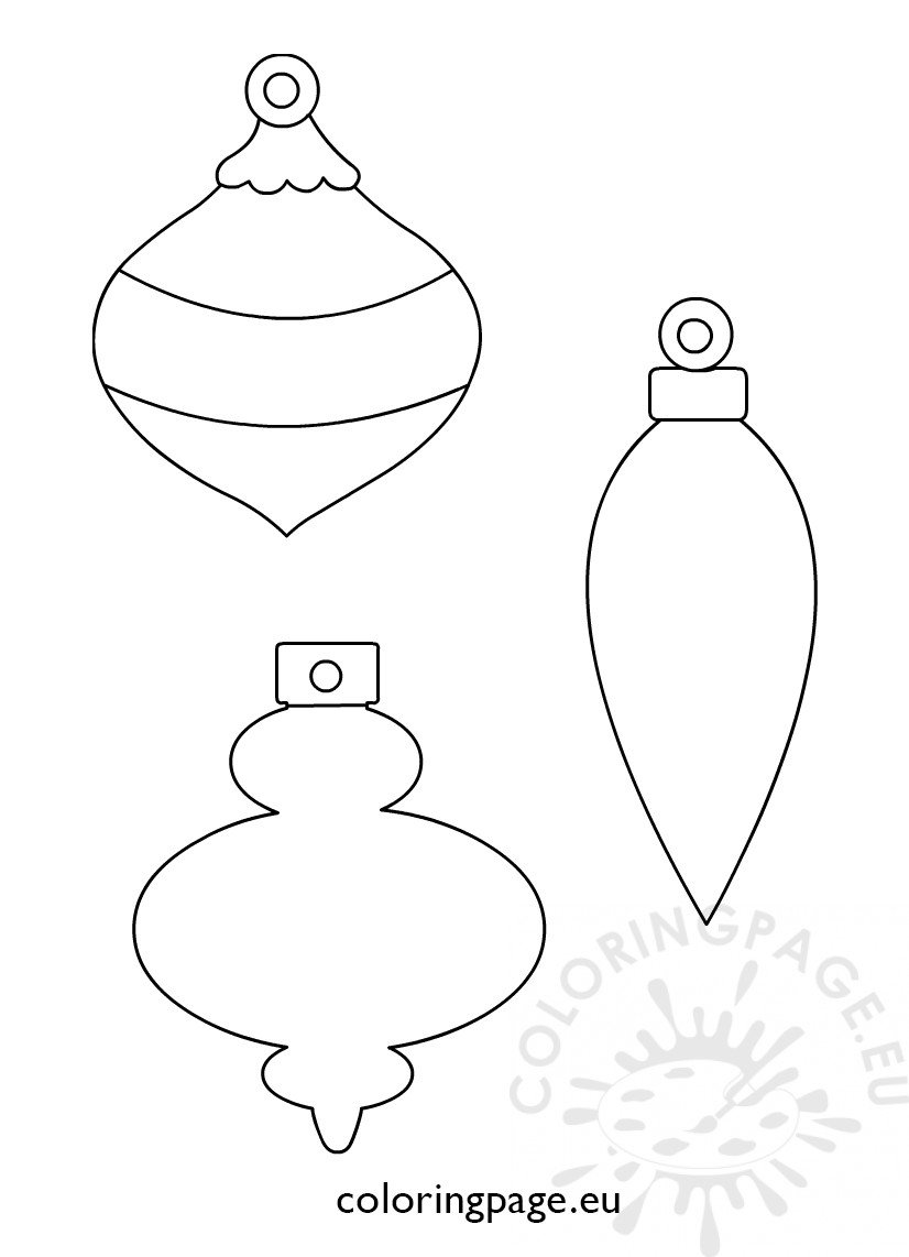 3 Christmas printable ornament shapes – Coloring Page