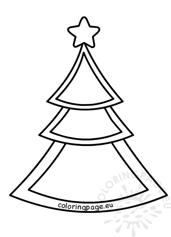 image about Star Pattern Printable called Christmas Tree with Star Habit printable Coloring Web site