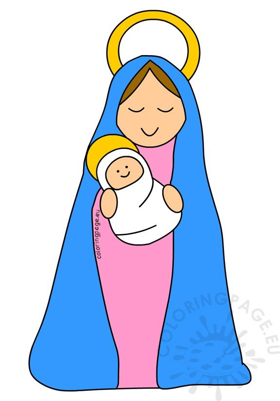 mother mary and baby jesus clipart � coloring page
