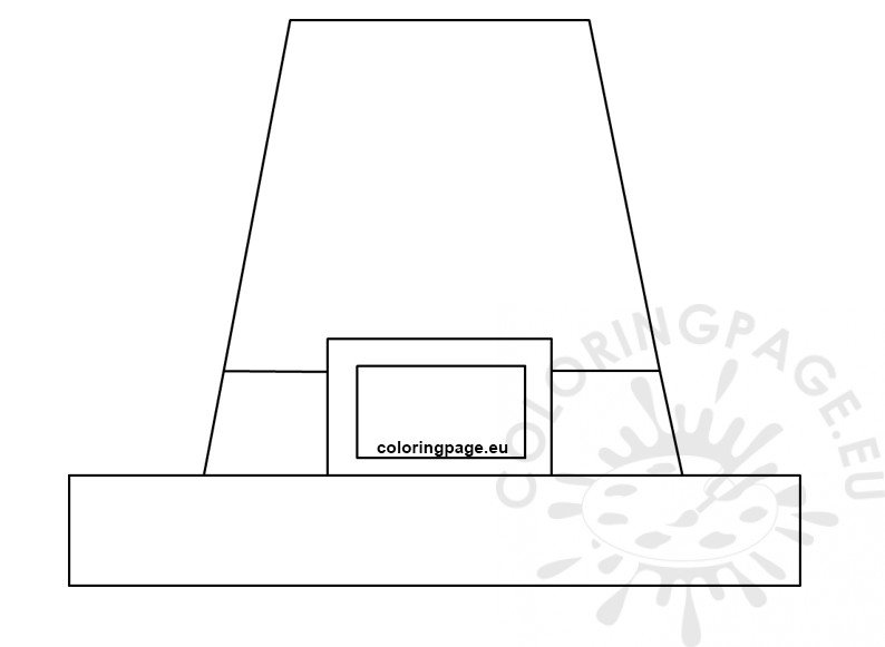 Preschool Pilgrim Hat template printable - Coloring Page