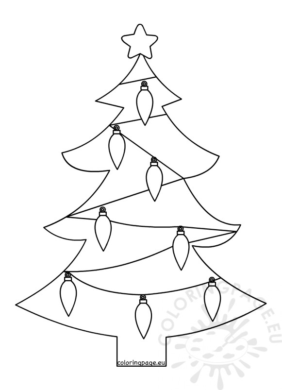 christmas tree light bulb coloring pages | Christmas tree with lights template – Coloring Page