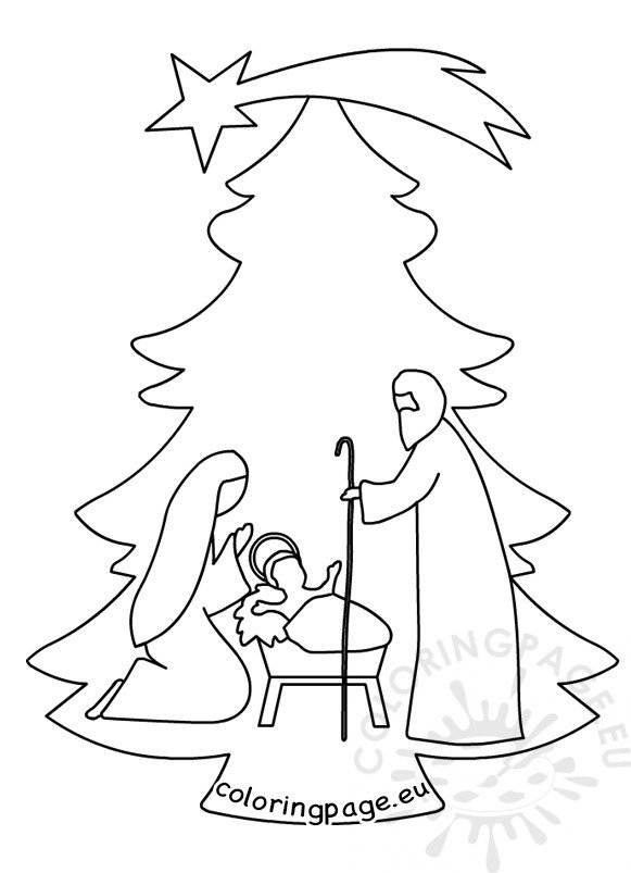Christmas tree nativity scene template – Coloring Page
