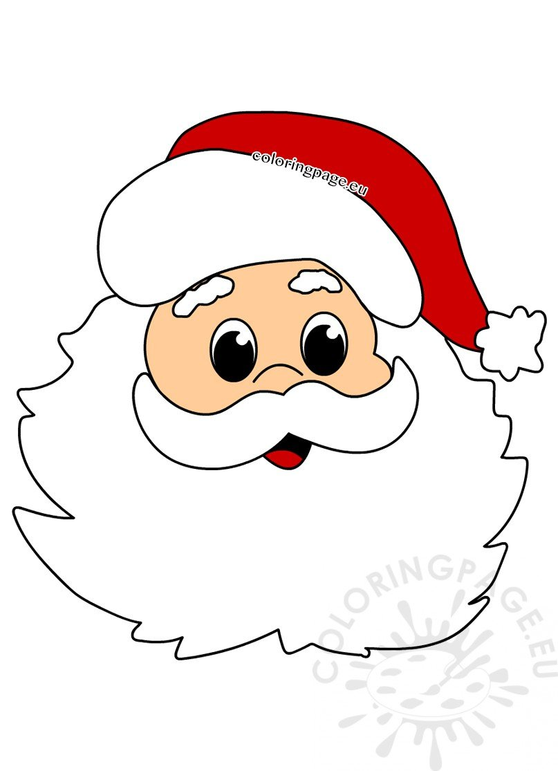 Face Santa Claus Cartoon style - Coloring Page